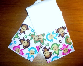 Boutique Burp Cloth sets......PINK MONKEYs Baby Boutique Burp Cloth Set