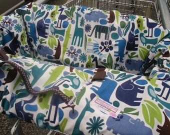 Shopping cart Cover 2 D ZOO pool....Baby Shower Gift Set Shopping Cart Cover with Boutique Burp Cloths