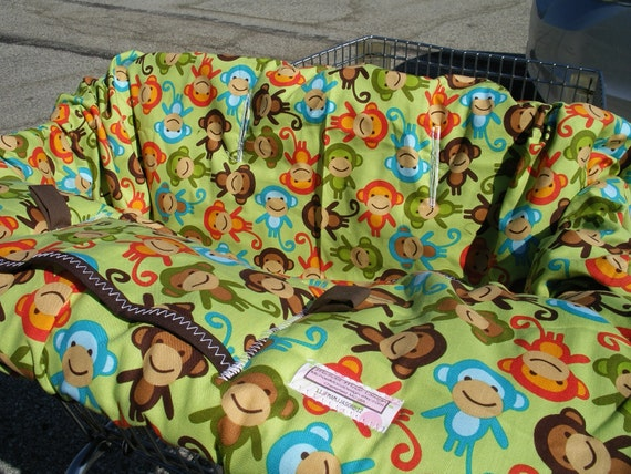 Shopping cart Cover  Urban Zoologie Monkeys Bermuda LAST ONE.....Shopping Cart Cover