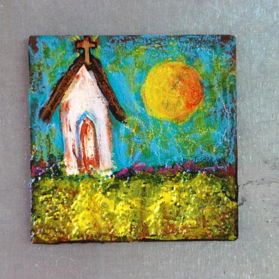 Magnet original painting Folk Art Church