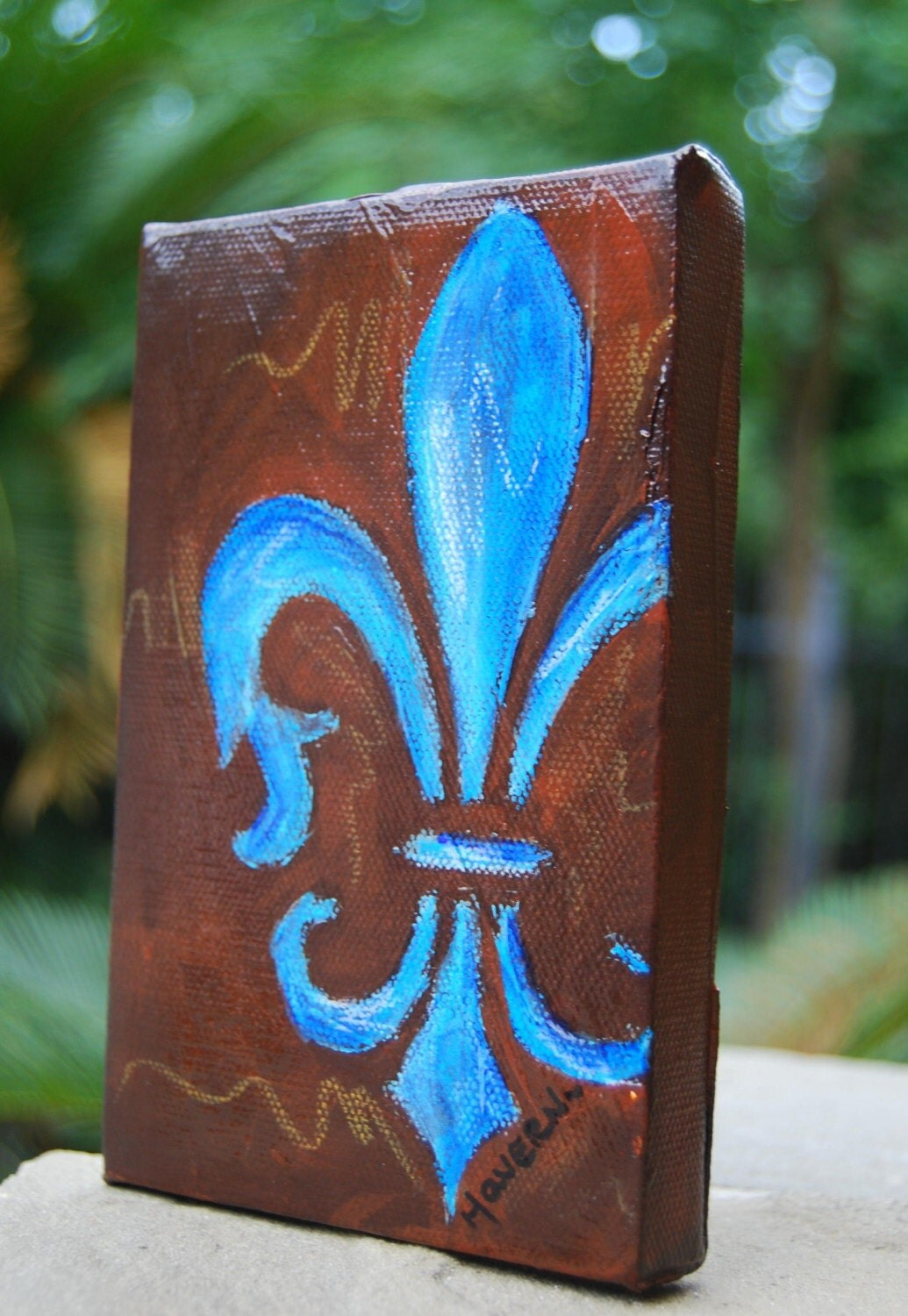 Fleur de lis original small painting by haveart on etsy - Fleur paint ...