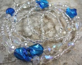 Crystal Blue - Twisted Blue Lampwork, Crystals and Silver Beaded Lanyard ID CLEARANCE