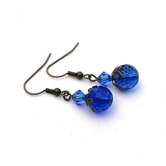 Vintage Style Faceted Blue Earrings