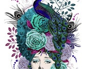 "Digital Art Collage  ""Patricia Ruth"" Aqua/Peacock/Roses/Purple ""Head Cases"" series"