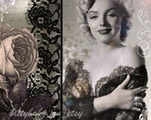 """Marilyn Monroe Altered Art Digital Collage 8""""x8"""" Print Roses/Black and White/Purple/Muted Colors"""