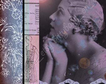 "SALE 7.5""x7.5"" Vintage Purple and Pink Valentines Day Digital Art Collage"