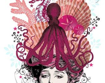 "Digital Art Collage  ""Orenda"" Pink/Coral/Beach/Octopus ""Head Cases"" series"