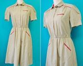 1980s Khaki Waitress Uniform