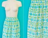 Blue and Yellow Mod Print Half Apron