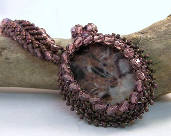 Feathered Amethyst Beadwoven Necklace