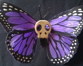 Purple Skull Butterfly barrette, Dia de los Muertos butterfly, day of the dead butterfly
