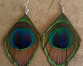 Peacock feather earrings, peacock feather, OOAK,cruelty free, peacock, feather earrings, feather