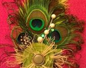 Peacock fascinator,peacock feather,Peacock, ooak, ,peacock wedding, peacock bride, wedding,green, green feather, green fascinator
