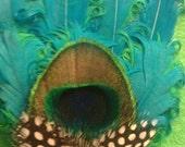 Green, bridal, bridal fascinator, wedding fascinator, fascinator,ready to ship, OOAK, peacock, feather clip,peacock feather
