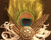 The Veronica-Green Fascinator, Boho, Green, White Ostrich, Peacock, peacock feather, Peacock fascinator, Wedding fascinator, Bridal