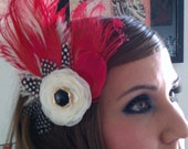 Red, red fascinator, red feather, 1920s bridal, red and white, white, peacock, peacock wedding