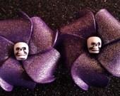 Purple plumeria, skull plumeria, hawaiian hair flower, wedding, luau, tiki oasis, wedding, retro, flower girl, bridal, purple flower