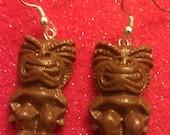 Brown tiki earrings, tiki, tiki earrings, brown, tiki oasis, tiki wedding, tropical flower, ocean, hawaii, tiki god