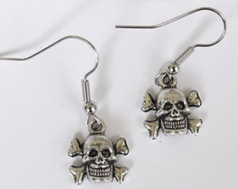Pirate earrings, Skull earring, On Sale, skull, skull earrings, pirate, Ready to ship,goth,punk,stocking stuffer