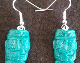 Zombie green tiki earrings, tiki, tiki earrings