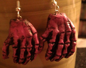 pink,zombie,zombie hands, pink hands, horror, zombie, hand jewelry, pink zombie earrings
