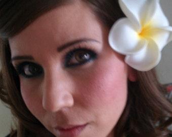 White and Yellow plumeria, yellow barrette, yellow hair flower, flower clip, tiki wedding, hawaiian hair clip, plumeria,yellow, wedding