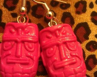 Pink, pink tiki, tiki, tiki earrings, ocean wedding, beach wedding, pink earrings, dangle earrings, tiki oasis, tiki wedding