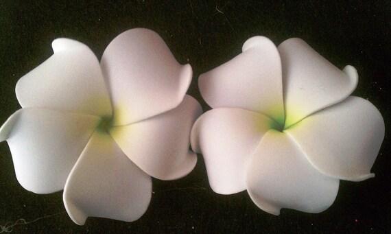 White and green plumeria barrette or bobby pin