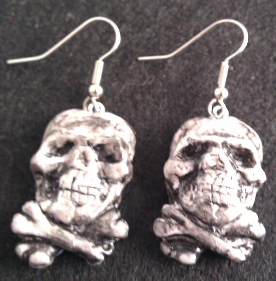 Pirate Earrings skull and cross bones hooks or posts