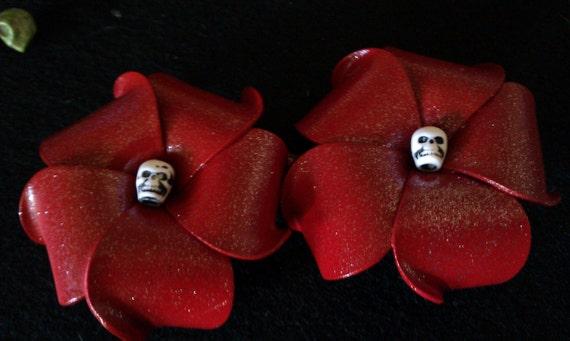Blood red skull plumeria barrette, skull, day of the dead flower,red plumeria, skull barrette