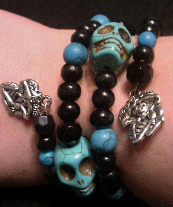 Skull, Frida, Sugar skull bracelet, Dia de los muertos , Day of the dead, Skull jewelry, skull bracelet, Turquoise,Bead bracelet