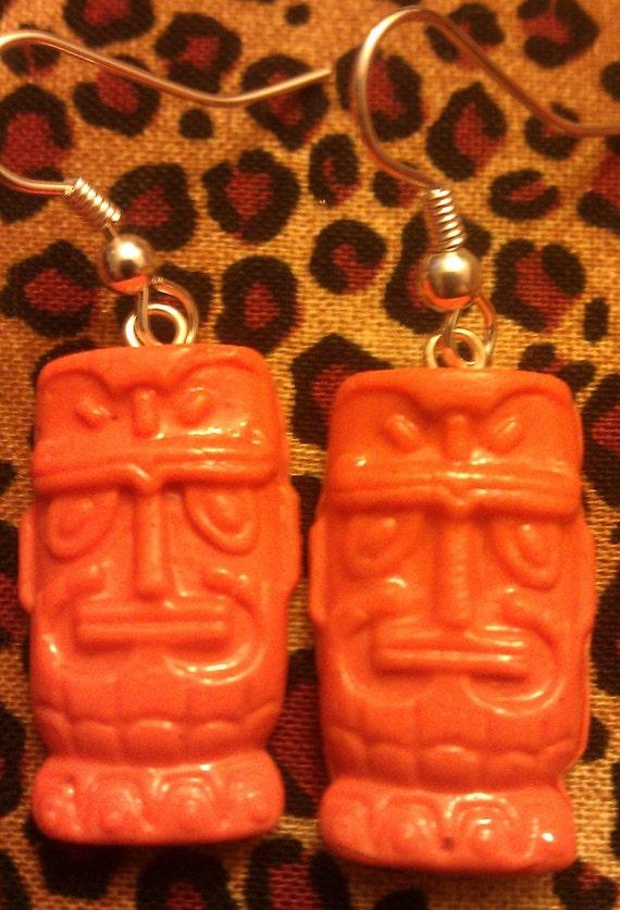 Orange, orange tiki, tiki, tiki earrings, luau, tiki jewelry, ocean wedding, beach wedding,tiki god, tropical, hawaii
