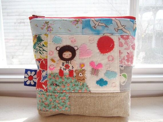 pretty handmade pouch-- brown bear girl happy air mail zipper
