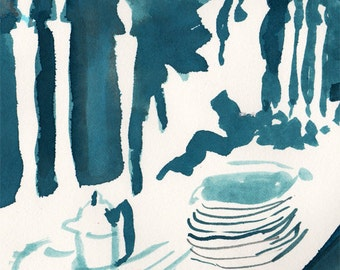 3 cards: Candlelit Dinner Table blank cards, Evening Celebration in White, Teal and Cobalt Blue