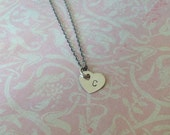 Heart Initial Handstamped Sterling Silver Necklace - Perfect for Moms
