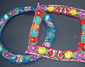Pair of Floral Guatemalan Embroidered Huipil Collars