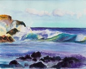 Kauai Crashing Waves Original Watercolor Painting from Kauai Hawaii