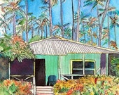Hawaiian Cottage I    8x10 art print from Kauai Hawaii blue teal turquoise