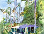 Hawaiian Cottage II 8x10 print from Kauai Hawaii blue purple periwinkle