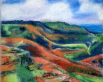Waimea Canyon 5x7 Art Print from Kauai Hawaii red dirt