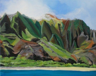 Na Pali Cruise print 8x10 from Kauai Hawaii mountains landscape green blue