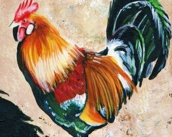 Kauai Rooster art print 5x7 from Hawaii Giclee Chicken Fowl Bird Kitchen Decor Hen Folk