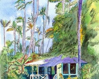 hawaiian cottage art, old plantation cottages, kauai art, waimea plantation cottages, Vacation art paintings, Hawaii wall art, blue houses