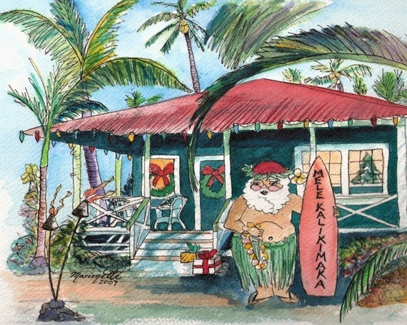Christmas Mele Kalikimaka 8x10 print with Hawaiian Santa from Kauai Hawaii