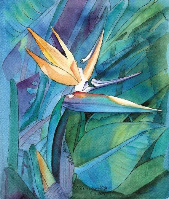 Bird of Paradise Original Watercolor Painting from Kauai Hawaii