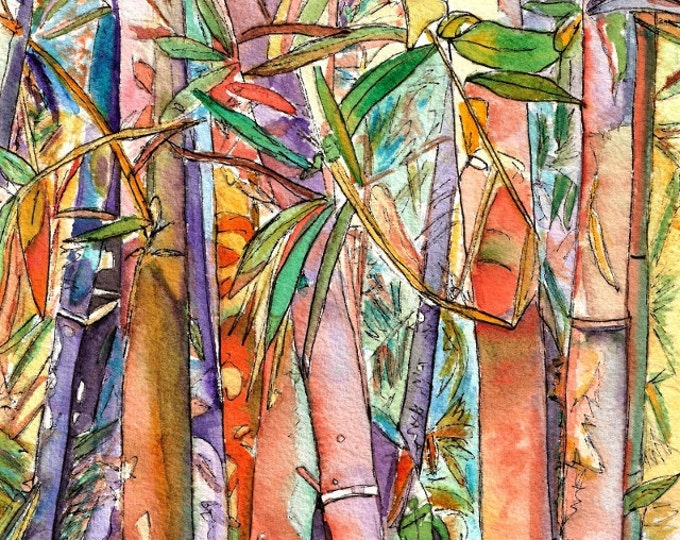 Rainbow Bamboo 8x10 print from Kauai Hawaii orange purple green