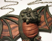 Swooping Dragon Necklace - Wearable Art Sculpture