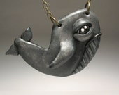 Whimsical Whale Necklace - Wearable Art Sculpture