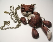 Sly as a Fox Necklace - Polymer Clay, Animal, Art Doll