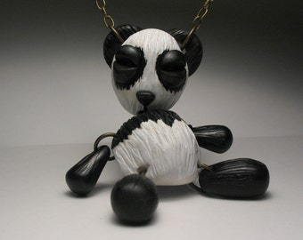 Sad Panda Bear Necklace - Polymer Clay Art Doll